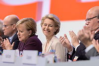 22 NOV 2019, LEIPZIG/GERMANY:<br /> Ralph Brinkhaus, CDU, Vorsitzender der CDU/CSU Bundestagsfraktion, Angela Merkel, CDU, Bundeskanzlerin, Ursula von der Leyen, CDU, gewaehlte Praesidentin der Europaeischen Kommission, und Peter Altmeier, CDU, Bundeswirtschaftsminister, (v.L.n.R.), Applaus waehrend der Rede von AKK, , CDU Bundesparteitag, CCL Leipzig<br /> IMAGE: 20191122-01-102<br /> KEYWORDS: Parteitag, party congress, Applaus, applaudiren, klatschen, lacht, lachen, freundlich