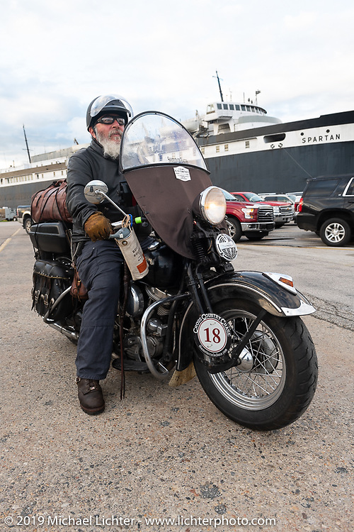 Willie Earhart ready to board the SS Badger Lake Michigan ferry on his 1948 Harley-Davidson Panhead during the Cross Country Chase motorcycle endurance run from Sault Sainte Marie, MI to Key West, FL (for vintage bikes from 1930-1948). Stage 2 from Ludington, MI to Milwaukee, WI, USA. Saturday, September 7, 2019. Photography ©2019 Michael Lichter.