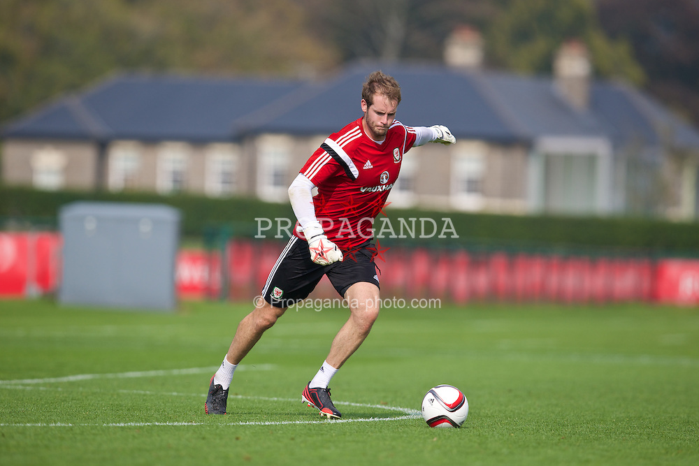 CARDIFF, WALES - Saturday, September 6, 2014: Wales' goalkeeper Owain Fon Williams training at the Vale of Glamorgan ahead of the opening UEFA Euro 2016 qualifying match against Andorra. (Pic by David Rawcliffe/Propaganda)