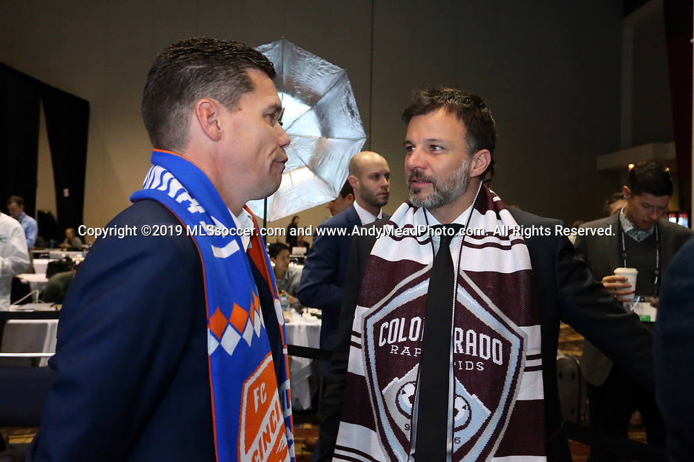 CHICAGO, IL - JANUARY 11: Colorado Rapids head coach Anthony Hudson (right) with FC Cincinnati head coach Alan Koch (left). The MLS SuperDraft 2019 presented by adidas was held on January 11, 2019 at McCormick Place in Chicago, IL.