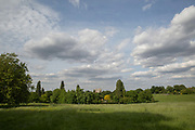 A high rise apartment block in the horizon of Brockwell Park on 30th May 2015 in South London, United Kingdom. Brockwell Park is a Lambeth park in South London