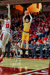NORMAL, IL - February 05: Markus Golder defended by Rey Idowu during a college basketball game between the ISU Redbirds and the Valparaiso Crusaders on February 05 2019 at Redbird Arena in Normal, IL. (Photo by Alan Look)