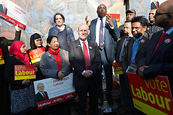 © Licensed to London News Pictures. 28/04/2014. London, UK. Rt Hon David Lammy MP speaks in support at a rally to canvass support for Labour candidate John Biggs to become the Mayor of Tower Hamlets in the upcoming May elections at Cable Street in Shadwell, East London on 28th April 2014. Photo credit : Vickie Flores/LNP