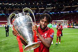 June 2, 2019 - Madrid, Spain - 190602 Divock Origi of Liverpool celebrate with the trophy after the UEFA Champions League final between Tottenham and Liverpool on June 2, 2019 in Madrid..Photo: Petter Arvidson / BILDBYRÃ…N / kod PA / 92302 (Credit Image: © Petter Arvidson/Bildbyran via ZUMA Press)