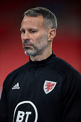 LONDON, ENGLAND - Thursday, October 8, 2020: Wales' manager Ryan Giggs is interviewed after his side's 3-0 defeat to England during the International Friendly match between England and Wales at Wembley Stadium. The game was played behind closed doors due to the UK Government's social distancing laws prohibiting supporters from attending events inside stadiums as a result of the Coronavirus Pandemic. England won 3-0. (Pic by David Rawcliffe/Propaganda)