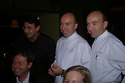 Olivier Chateau, Laurent Pourcel and Jacques Pourcel. Below:  Danny Moynihan. W'Sens-restaurant launch party. 12 Waterloo Place. 10 December 2004. ONE TIME USE ONLY - DO NOT ARCHIVE  © Copyright Photograph by Dafydd Jones 66 Stockwell Park Rd. London SW9 0DA Tel 020 7733 0108 www.dafjones.com
