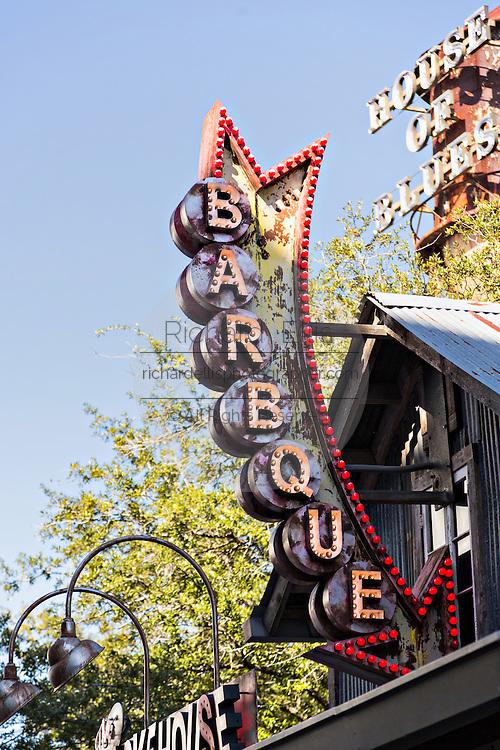 Neon sign for Barbque at Main Street Disney World in Lake Buena Vista, Florida.