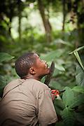 Man with machete and secateurs in the Odzala-Kokoua National Park.