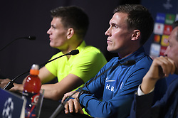 November 26, 2019, Genk, UNITED KINGDOM: Genk's Joakim Maehle Pedersen and Genk's head coach Hannes Wolf pictured during a press conference of Belgian soccer team KRC Genk, Tuesday 26 November 2019 in Genk, in preparation of tomorrow's match against Austrian club RB Salzburg in the group stage of the UEFA Champions League. BELGA PHOTO YORICK JANSENS (Credit Image: © Yorick Jansens/Belga via ZUMA Press)