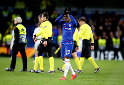 Chelsea's Callum Hudson-Odoi celebrates after the final whistle during the UEFA Europa League, round of 16 first leg match at Stamford Bridge, London.