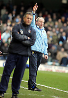 Photo: Paul Thomas. Coventry City v Cardiff City, Highfield Road, Coventry,  Coca Cola Chamionship. 12/03/2005. Cardiff Manager Lenny Lawrence tries to get someones attention as Micky Adams looks on.