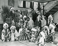 1923 Sid Grauman, Jesse Lasky, Tim McCoy & Native American actors at Famous Players Lasky Studios