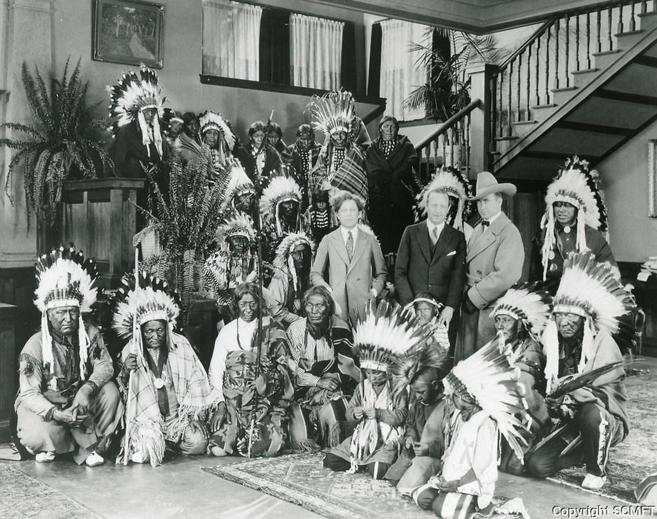 1923 Sid Grauman, Jesse Lasky, Tim McCoy & Native American actors at Famous Players Lasky Studios