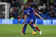 Omar Bogle of Cardiff City  in action. EFL Skybet championship match, Cardiff city v Ipswich Town at the Cardiff city stadium in Cardiff, South Wales on Tuesday 31st October 2017.<br /> pic by Andrew Orchard, Andrew Orchard sports photography.