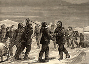 British overland Arctic expedition led by Sir John Franklin (1786-1847) 1819-1822. North American Indians sent by George Back arriving at 'Fort Enterprise' with help for the starving Franklin, Richardson, Hepburn and their three surviving companions. Engraving from 'Heroes of Britain' by Edwin Hodder (London, c1880).