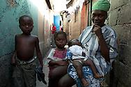 A Haitian woman and three of her children in the destitute community of Shada. Cap Haitian, Haiti, January 28, 2008.