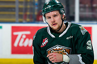 KELOWNA, BC - FEBRUARY 28: Dawson Butt #9 of the Everett Silvertips skates to the bench during warm up against the Kelowna Rockets  at Prospera Place on February 28, 2020 in Kelowna, Canada. (Photo by Marissa Baecker/Shoot the Breeze)