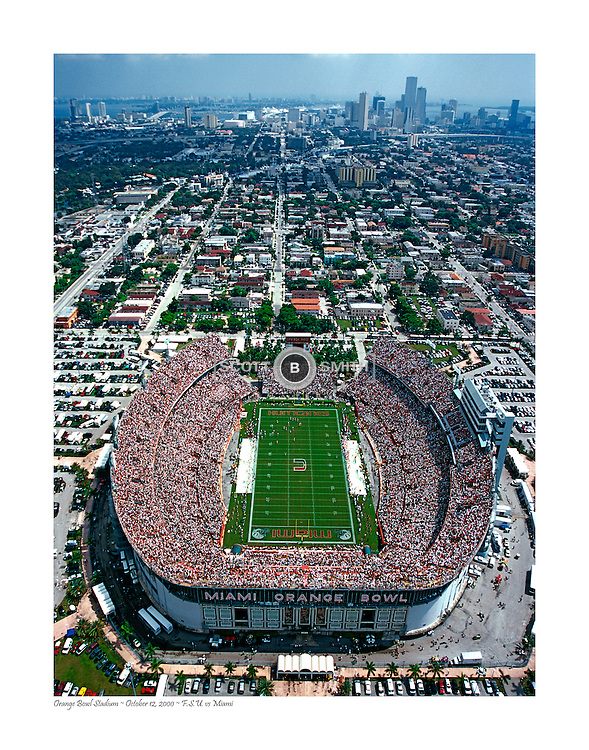 Aerial University of Miami plays Florida State University in the Orange Bowl October 2001