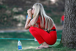 June 22, 2018 - Cromwell, CT, U.S. - CROMWELL, CT - JUNE 22: A fan finds some shade during the Second Round of the Travelers Championship on June 22, 2018, at TPC River Highlands in Cromwell, Connecticut. (Photo by Fred Kfoury III/Icon Sportswire) (Credit Image: © Fred Kfoury Iii/Icon SMI via ZUMA Press)