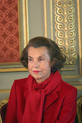 File photo - Liliane Bettencourt attends a ceremony held at the Elysee Palace in Paris, France on April 18, 2005. Liliane Bettencourt has died aged 94 it was announced on September 21, 2017. Bettencourt was the richest person in France and the third-richest woman in the world with a net worth of $40 billion. She was the sole heir to L'Oreal, the largest cosmetics company in the world, which was started by her father, and a large shareholder in Nestle. Nearly a decade ago a trial forced Liliane's personal business into the public light, laid bare her obsession with a flashy homosexual photographer whom she turned into a billionaire, destroyed her relationship with her daughter, turned a long time family butler against her, and, finally, turned the dowager heiress into even more of a recluse than she had been before. Photo by Mousse/ABACA
