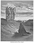 Abraham and the Three Angels Genesis 18:9-10 From the book 'Bible Gallery' Illustrated by Gustave Dore with Memoir of Doré and Descriptive Letter-press by Talbot W. Chambers D.D. Published by Cassell & Company Limited in London and simultaneously by Mame in Tours, France in 1866