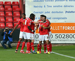 Crewe's Lee Molyneux celebrates  - Photo mandatory by-line: Joe Dent/JMP - Tel: Mobile: 07966 386802 07/09/2013 - SPORT - FOOTBALL -  Alexandra Stadium - Crewe - Crewe Alexandra V Peterborough United - Sky Bet League One