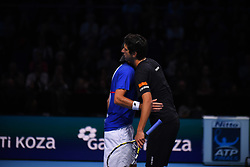 November 15, 2017 - London, England, United Kingdom - Lukasz Kubot of Poland and Marcelo Melo of Brazil celebrate a point in their doubles match agains Mike and Bob Bryan of the USA on day four of the Nitto ATP World Tour Finals at O2 Arena on November 15, 2017. (Credit Image: © Alberto Pezzali/NurPhoto via ZUMA Press)