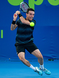 Roberto Bautista Agut of Spain returns the ball to Matteo.Berrettini of Italy during their first round of ATP Qatar Open Tennis match at the Khalifa International Te?nnis Complex in Doha, capital of Qatar, on December 31, 2018.Bautista Agut  won 2-0  (Credit Image: © Yangyuanyong/Xinhua via ZUMA Wire)