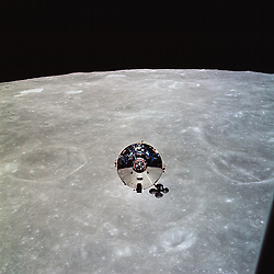 "In Lunar Orbit - (FILE) -- The Apollo 10 command module (CM) Charlie Brown is seen from the lunar module (LM) Snoopy after separation on May 22, 1969 in lunar orbit. This photo is part of the book ""Apollo: Through the Eyes of the Astronauts"" published to commemorate the 40th anniversary of the first manned lunar landing on July 20, 1969..Photo by NASA via CNP /ABACAPRESS.COM"