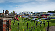 Henley on Thames. United Kingdom.   2018 Henley Royal Regatta, Henley Reach. <br />   <br /> In the backgound the Regatta Boats are erected, kooking through the Leander Club boat racks. Course Construction<br /> <br /> Thursday  03/05/2018<br /> <br /> [Mandatory Credit: Peter SPURRIER:Intersport Images]<br /> <br /> LEICA CAMERA AG  LEICA Q (Typ 116)  f5.6  1/640sec  35mm  42.5MB