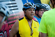 """Mayor oscar Trevino of North Richland Hills talks with other riders after the first  """"Elected Officials bike ride"""" along the Champion Trail in Irving, Texas on August 6, 2013. Riders included nearly 15 mayors and council members from around north Texas with the aim to promote biking in their neighborhoods. (Cooper Neill / Texas Tribune)"""
