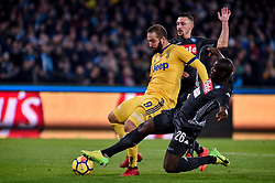 December 1, 2017 - Naples, Italy - Gonzalo Higuan of Juventus scores first goal during the Serie A match between Napoli and Juventus at San Paolo Stadium, Naples, Italy on 1 December 2017. (Credit Image: © Giuseppe Maffia/NurPhoto via ZUMA Press)