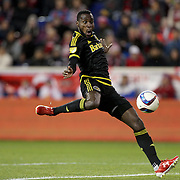 Tony Tchani, Columbus Crew SC, shoots during the New York Red Bulls Vs Columbus Crew SC, Major League Soccer Eastern Conference Championship, second leg, at Red Bull Arena, Harrison, New Jersey. USA. 29th November 2015. Photo Tim Clayton