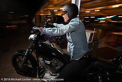 Jessi Combs riding out after the Love Thy Chopper-10. pre-party at Lakeside Amusement Park, Denver, CO, USA. July 15, 2016.  Photography ©2016 Michael Lichter.