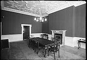 Interior & Exterior of South Leinster Street. (asbestos cement) <br /> 1970.<br /> 14.10.1970.<br /> 10.14.1970.<br /> 14th October 1970.<br /> The Interior and exterior of No 6 South Leinster House.<br /> <br /> Picture shows the inside of one of the rooms in the building. The image shows the highly decorative ceiling,fireplace and wall panels.