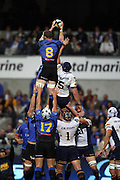 Richards Brown out jumps Mark Chisholm during the Western Force v ACT Brumbies Super 14 rugby union round 14 match played at Subiaco Oval, Perth Western Australia on Friday 16th May 2007. Force 29 defeated the Brumbies 22. Photo: Clay Cross/PHOTOSPORT