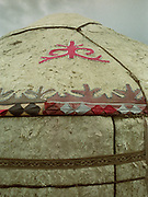 Kyrgyz handicraft. Mohammed's clan sign on the roof of his yurt at Seki summer camp.<br /> <br /> Adventure through the Afghan Pamir mountains, among the Afghan Kyrgyz and into Pakistan's Karakoram mountains. July/August 2005. Afghanistan / Pakistan.