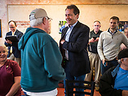17 MAY 2019 - NEWTON, IOWA:  Governor STEVE BULLOCK (D-MT) talks to Iowa voters before a campaign event in Newton. Gov. Bullock joined a crowded field of Democrats vying to be the party's Presidential nominee in 2020. Iowa traditionally hosts the the first election event of the presidential election cycle. The Iowa Caucuses will be on Feb. 3, 2020.     PHOTO BY JACK KURTZ