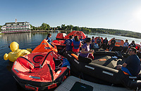 """The overnight crew enjoy a calm Saturday morning on Meredith Bay during the Make A Wish """"Rafting for Wishes"""" event at Hesky Park on Saturday.  (Karen Bobotas/for the Laconia Daily Sun)"""