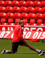 Photo. Richard Lane<br />Southampton FC FA Cup Preview Day at St. Mary's. 13/05/2003.<br />James Beattie stretches.
