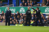 Everton Manager Ronald Koeman (l) and Chelsea Manager Antonio Conte look on from the touchline. Premier league match, Everton v Chelsea at Goodison Park in Liverpool, Merseyside on Sunday 30th April 2017.<br /> pic by Chris Stading, Andrew Orchard sports photography.