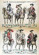Mounted Musketeers of the French Army in the 17th and eighteenth centuries.  Mid-19th century popular print.