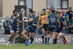 September 22, 2018 - Galway, Ireland - Bundee Aki of Connacht celebrates scoring with his teammates during the Guinness PRO14 match between Connacht Rugby and Scarlets at the Sportsground in Galway, Ireland on September 22, 2018  (Credit Image: © Andrew Surma/NurPhoto/ZUMA Press)
