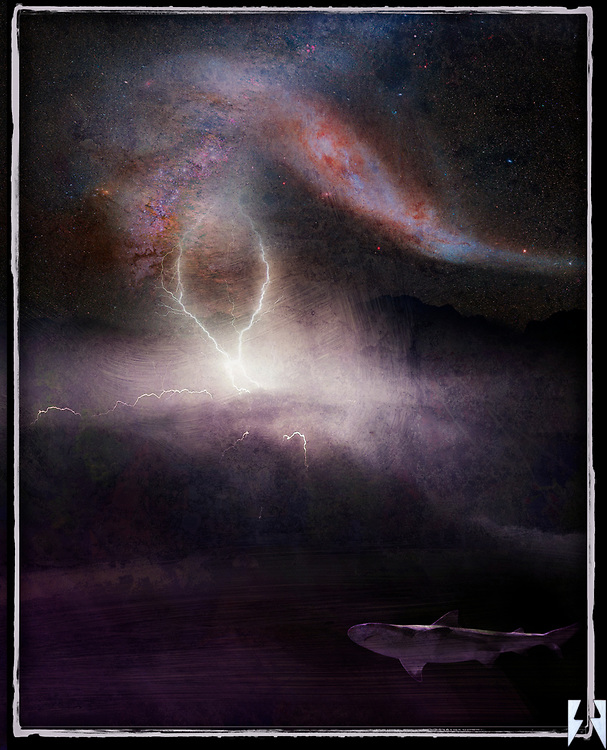 The top third are the colors and textures of deep space. This transitions through lightening to the silhouette of a mountain range where distant rain plunges into a vast hole in the ocean where below is a shark, comforted in his creation.