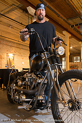 Will Ramsay of Faith Forgotten Choppers at the In Motion invitational bike show at the Lone Star Rally. Galveston, TX. USA. Friday November 3, 2017. Photography ©2017 Michael Lichter.
