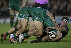November 3, 2018 - Galway, Ireland - Nic Cudd of Dragons fights for the ball with Tiernan O'Halloran and Kyle Godwin of Connacht during the Guinness PRO14 match between Connacht Rugby and Dragons at the Sportsground in Galway, Ireland on November 3, 2018  (Credit Image: © Andrew Surma/NurPhoto via ZUMA Press)