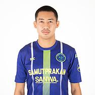 THAILAND - APRIL 09: Sarawut Kanlayanabandit #5 of Samut Prakan City FC on April 09, 2019.<br /> .<br /> .<br /> .<br /> (Photo by: Naratip Golf Srisupab/SEALs Sports Images/MB Media Solutions)