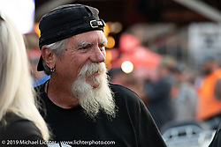Mailman Kevin O'Brien at the Iron Horse Saloon during the Sturgis Black Hills Motorcycle Rally. Sturgis, SD, USA. Monday, August 5, 2019. Photography ©2019 Michael Lichter.