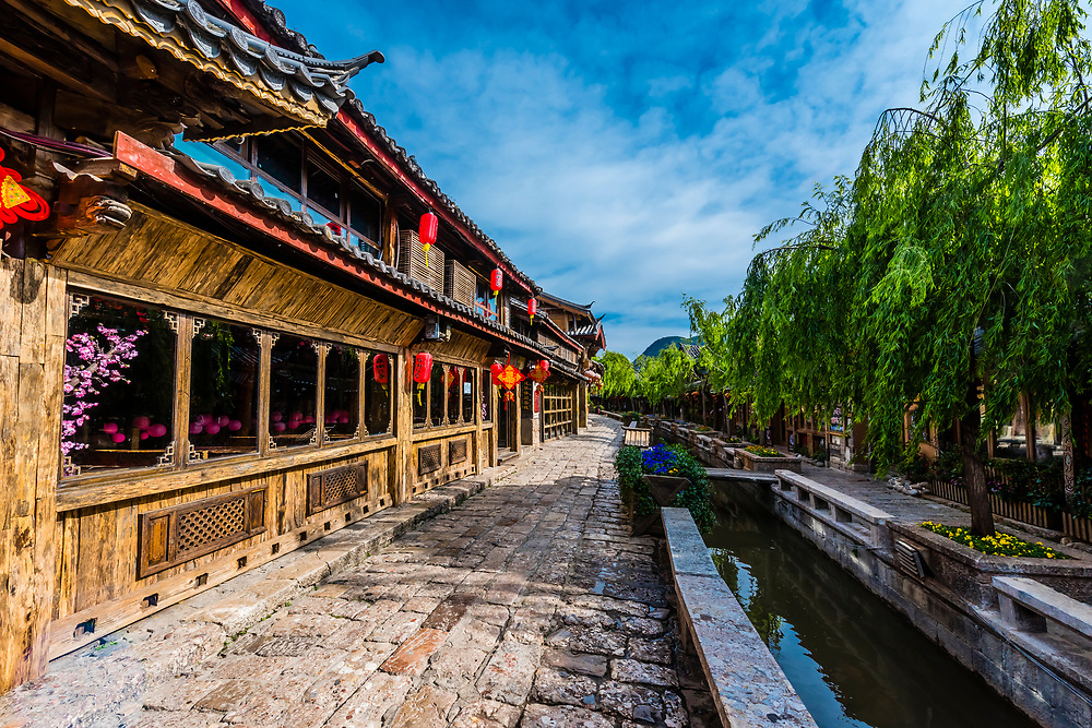 A canal in the Old Town (Dayan) of Lijiang, Yunnan Province, China. The Old Town is a UNESCO World Heritage Site.