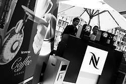 The Nespresso coffee stand at the hospitality area at Portimao Portugal Match Cup 2010. World Match Racing Tour. Portimao, Portugal. 23 June 2010. Photo: Gareth Cooke/Subzero Images